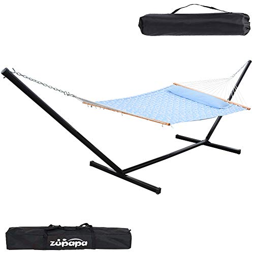 Zupapa 15 Feet Hammock with Stand Heavy Duty 550 Pounds Capacity with Spreader Bars and Pillow, 2 Person Double Hammock for Indoor Outdoor Use, 2 Storage Bags Included (Coconut Tree Blue)