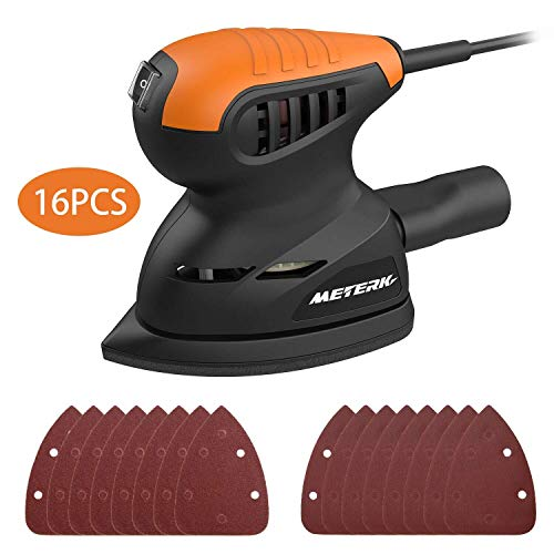 Mouse Detail Sander, Meterk 13500RPM Sander Wall Putty Polishing Machines Sander with 16PCS Sandpapers Dust Collection Port for Tight Spaces Sanding in Home Decoration and DIY Working