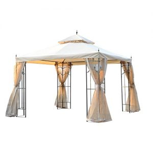 Outsunny 10' x 10' Steel Outdoor Weather Resistant Garden Gazebo with Mesh Curtains - Beige