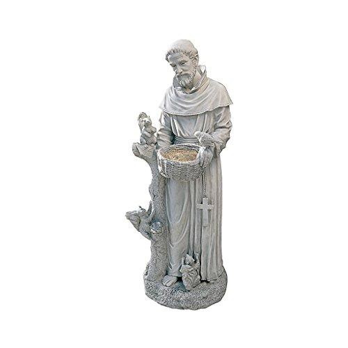Design Toscano Nature's Nurturer Saint Francis Garden Statue Birdfeeder, Large 37 Inch, Polyresin, Antique Stone