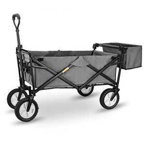 """WHITSUNDAY Collapsible Folding Garden Outdoor Park Utility Wagon Picnic Camping Cart with Replaceable Cover (Standard Size 8"""" Wheels with Rear Storage, Grey)"""