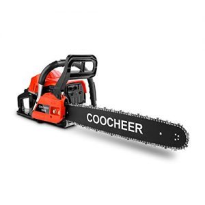 OppsDecor XP2300 58cc Gas Powered Chainsaw, 20 Inch 2 Stroke Handed Petrol Gasoline Chain Saw for Cutting Wood with Tool Kit,Garden Farm Home Use (US Stock) (Light Red)