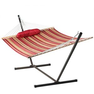 Lazy Daze Hammocks 12 Feet Steel Hammock Stand with Quilted Fabric Hammock Combo and Pillow, Red&Brown Stripe