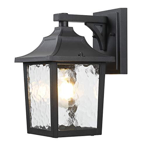 BEEZOK Wall Mount Lighting Outdoor Sconce - 1 Pack Wall Light Porch Lamp Fixture Rustproof Waterproof Matt Black Front Door Lamp with Water Rippled Glass for Doorway, Garage, Barn