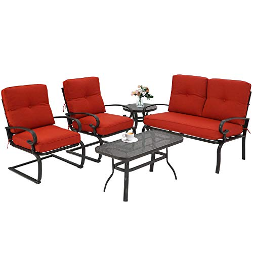 Incbruce 5Pcs Outdoor Indoor Patio Furniture Conversation Sets Loveseat and Spring Motion Chairs Bistro Set - Wrought Iron Table and Chairs Set with Cushions (Red)
