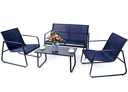 Kozyard Sofia 4 Pieces Patio/Outdoor Conversation Set with Strong Powder Coated Metal Frame, Breathable Textilence, Includes One Love Seat, Two Chairs and One Table (Navy Blue)