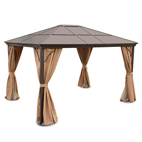 YITAHOME Hardtop Aluminum Permanent Gazebo - Gazebo Canopy Replacement for Patios and Outdoor Patio Garden Gazebo with 2-Layer Sidewalls (12ft x 10ft)