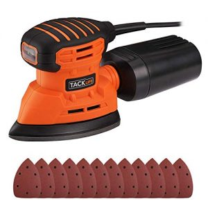 TACKLIFE Classic Mouse Detail Sander with 12Pcs Sandpapers, 12,000 OPM Sander, Efficient Dust Collection System For Tight Spaces Sanding in Home Decoration, DIY - PMS01A