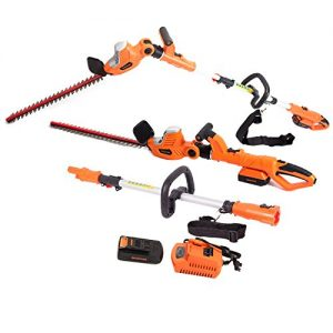 GARCARE Li-ion Cordless 2 in 1 Pole Hedge Trimmer 20V with 20-Inch Laser Blade,2.0ah Battery, 1 Hour Charger Included