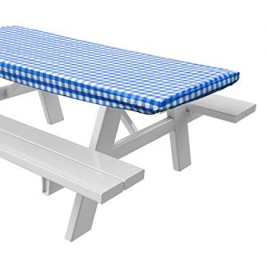 "Sorefy Vinyl Picnic Table Fitted Tablecloth Cover, Checkered Design, Flannel Backed Lining, 28 x 72 Inch (72"", Blue)"