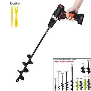 "Auger Drill Bit Garden Plant Flower Bulb Auger Rapid Planter Bulb & Bedding Plant Auger for 3/8"" Hex Drive Drill Earth Auger Drill Fence Post Umbrella Hole Digger 1.8x14.6 inch"