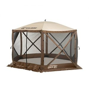 Quick Set 9879 Escape Shelter, 140 x 140-Inch Portable Popup Gazebo Durable Tent Bug and Rain Protection Easy Setup (6-8 Person), Brown/Beige