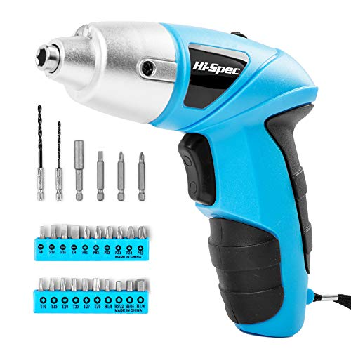 Hi-Spec 26 Piece 4.8V Electric Power Cordless Screwdriver with Rechargeable Battery & LED Light. Includes Screwdriver Bit Accessories Set for Home DIY & Repair (Blue)