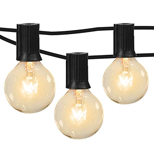 Moonflor 50Ft G40 Patio String Lights with 50 Clear Edison Bulbs & 2 Spare Bulbs for Indoor/Outdoor Commercial Decor, Warm White Globe String Lights Perfect for Backyard Garden Pergola Umbrella, Black