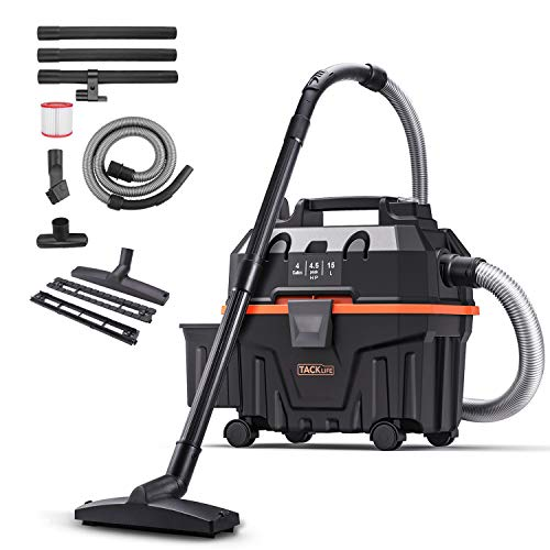 TACKLIFE Shop Vac, 4.5 Peak Hp 4 Gallon Wet Dry Vacuum, Wet Suction/Dry Suction, Blowing 3 in 1 Function, Suitable for House, Garage, Basement, Workshop - PVC01B