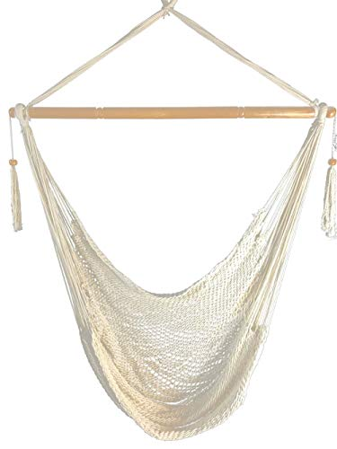 Krazy Outdoors Mayan Hammock Chair - Large Cotton Rope Hanging Chair Swing with Wood Bar - Comfortable, Lightweight - for Indoor & Outdoor Porch, Yard, Patio and Bedroom (Natural White)