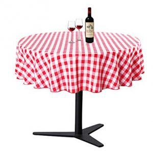 Waysle Round Tablecloth - R90 Inch - Red and White Checker Table Cloth for Circular Tables in Washable Polyester - Great for Wedding | Restaurant | Party | Banquet Decoration