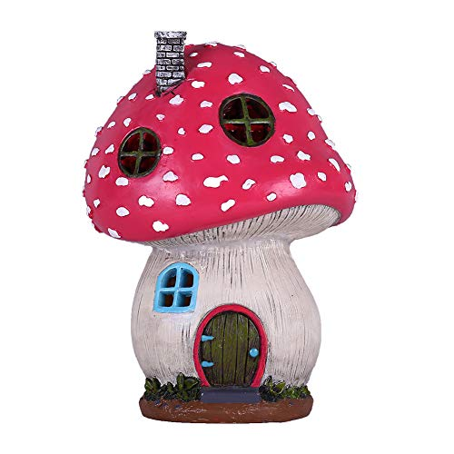 TERESA'S COLLECTIONS Mushroom Fairy Garden House Statue Accessories with Solar Light,Fairy Garden Cottage Figurines Sculptures for Outdoor Decoration (Resin)