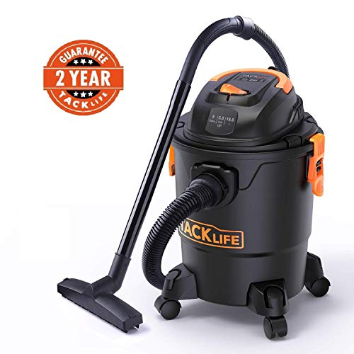 TACKLIFE Wet Dry Vacuum 5.5 hp, 5 Gallon Shop Vac with Wet Suction/Dry Suction/Blowing 85CFM Wide Cleaning Range, Suitable for Home, Garden,Garage, Workshop or Vehicles