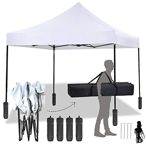 FDW Pop Up Canopy 10x10 Pop Up Canopy Tent Party Tent Ez Up Canopy Sun Shade Wedding Instant Folding Protable Better Air Circulation Outdoor Gazebo with Backpack Bag