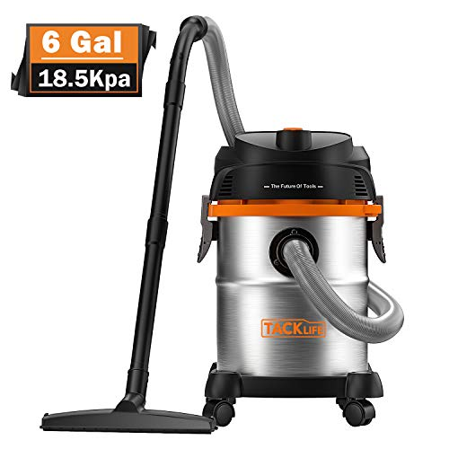 TACKLIFE Stainless Steel Shop Vacuum, 6 Gallon 6 Peak Hp Wet and Dry Vacuum, Wet/Dry Powerful Suction, Blow 3 in 1 Function, Suitable for Garage, Basement, Van, Workshop, Vehicle - PVC05B