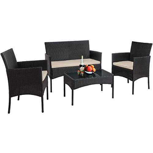 Vnewone Outdoor Patio Furniture Sets 4 Pieces Patio Set Rattan Chair Wicker Sofa Conversation Set Patio Chair Wicker Set with Table Backyard Lawn Porch Garden Poolside Balcony Furniture (Black)