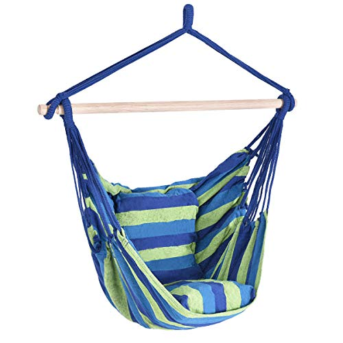 Giantex Hammock Swing, Hanging Rope Hammock Chair with 2 Cushions for Patio Porch Yard Tree C Hammock Stand, Cotton Hanging Air Swing (1, Green and Blue Multicolor Stripes)