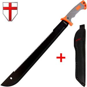 18,5 Inch Serrated blade Machete with Nylon Sheath - Saw Blade Machetes with Non-Slip Rubber Handle - Best Brush Clearing Tool Grand Way 13153