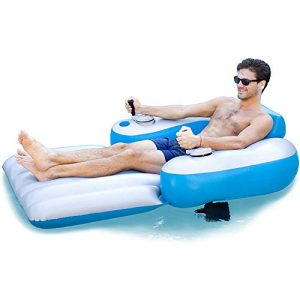 Poolcandy Splash Runner 2.0 Motorized Pool Lounger - Deluxe Inflatable Swimming Pool Float -Now Faster with 3-Blade Propeller and Battery-Powered Motor. Great for use in Pool or Lake.
