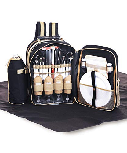 Picnic Plus 4 Person Picnic Complete Backpack 31 pcs with Waterproof Blanket, Thermal Insulated Cooler, 2 Wine Bottle Holders