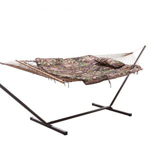 Castaway Hammocks Rope Hammock Combo with Camo Hammock Pad, 12 Foot Steel Portable Stand and Pillow, Brown