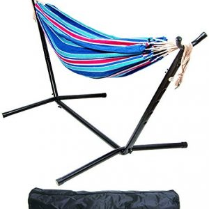 BalanceFrom Double Hammock with Space Saving Steel Stand and Portable Carrying Case, 450-Pound Capacity (Color #3), Hammock with Stand