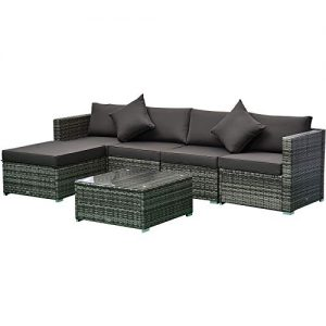 Outsunny 6-Piece Outdoor Patio Rattan Wicker Furniture Set with Comfortable Cotton Cushions, Removable Slip Covers, Charcoal