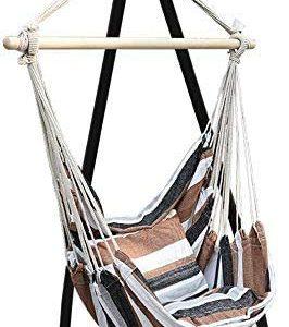 Yealsha Max 330 lbs Hanging Rope Hammock Chair Swing Seat, Large Hammock Chair Relax Hanging Swing Chair for Indoor/Outdoor (Type7/Hanging chair+lanyard)