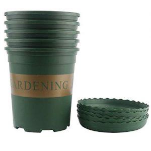 Ogrmar 5PCS 1 Gallon Durable Nursery Pot/Garden Planter Pots/Nursery Plant Container with 5PCS Pallet (1 Gallon)