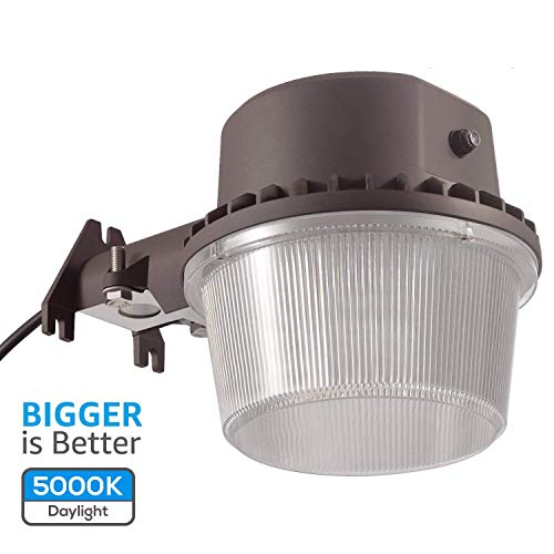 TORCHSTAR Dusk to Dawn Area Light with Photocell, 5000K Daylight Outdoor Security Floodlight, DLC & ETL-Listed for Yard Patio, Bronze, 5 Years Warranty