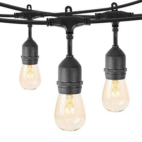 Minetom 48Ft Outdoor String Lights with 15 Hanging Sockets & S14 Edison Bulbs, UL Listed Commercial Grade Connectable Weatherproof Strand for Patio Deck Backyard Garden Porch Cafe Wedding Party, Black