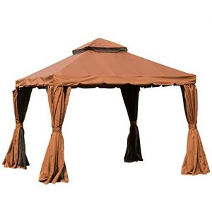 Outsunny 10' x 10' Outdoor Patio Gazebo with Beautiful Polyester Curtains and Air Venting Netted Screens, Brown