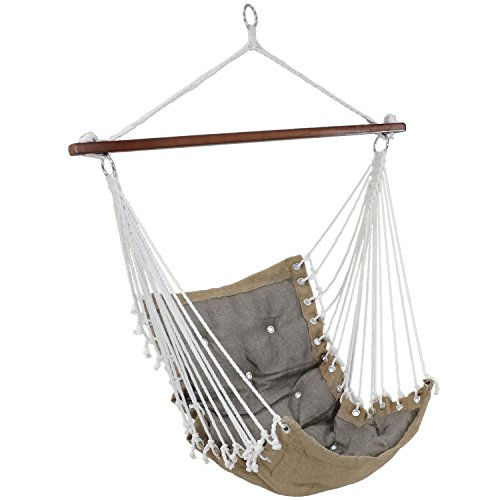 Sunnydaze Tufted Victorian Hammock Chair Swing - Large Hanging Chair Seat for Backyard & Patio - Sturdy 300 Pound Capacity - Gray