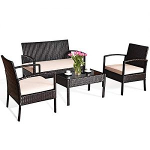 Tangkula 4 PCS Patio Furniture Sets, Rattan Chair Wicker Set, Outdoor Bistro Sets, w/Coffee Table & Washable Couch Cushions, for Porch, Backyard, Garden, Poolside (1)