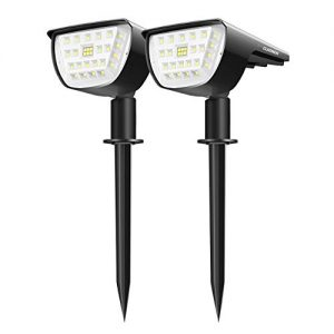 Claoner 32 LED Solar Landscape Spotlights, Wireless Waterproof Solar Landscaping Spotlights Outdoor Solar Powered Wall Lights for Yard Garden Driveway Porch Walkway Pool Patio- Cold White(2 Pack)