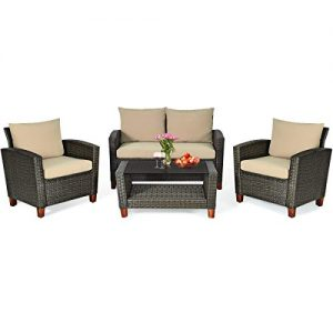 HAPPYGRILL 4pcs Patio Furniture Set Outdoor Rattan Wicker Conversation Set Sectional Wicker Sofa Chair & Coffee Table Set for Porch Poolside Backyard