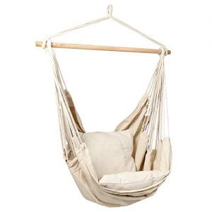 Bormart Hanging Rope Hammock Chair Large Cotton Weave Porch Swing Seat Comfortable and Durable Hanging Chair for Yard, Bedroom, Porch, Indoor, Outdoor - 2 Seat Cushions Included (White)