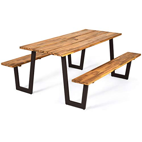 """Giantex Picnic Table Bench Set with Umbrella Hole, Outdoor Dining Table Set, 70"""" Acacia Wood Picnic Beer Table with Metal Frame (Natural & Black)"""