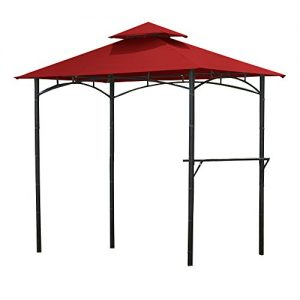 Garden Winds Replacement Canopy Top Cover for Bamboo Look Grill Gazebo - Riplock 350 - Cinnabar