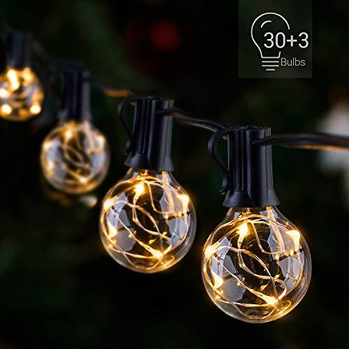 Novtech LED Outdoor String Lights 38.5FT 30Bulbs G40 Globe String Lights - Waterproof Patio String Lights Outdoor Decorative String Lights for Backyard Bistro Porch Garden Cafe Party - UL Standard