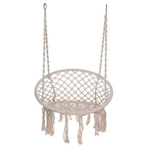 Hammock Chair Macrame Swing Hanging Cotton Rope Swing Chair for Indoor & Outdoor Home Garden Patio Balcony and More 300 Pounds Capacity Best Gift