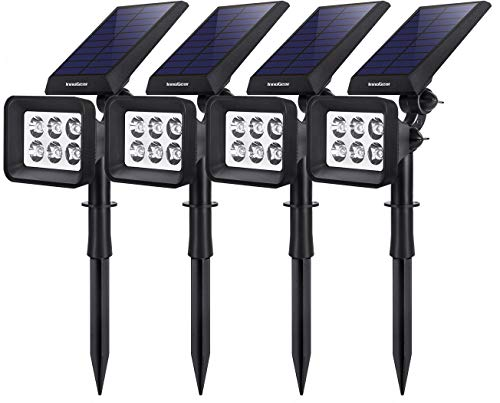 InnoGear Solar Lights Outdoor, 6 LED Solar Landscape Spotlights 2-in-1 IP65 Waterproof Auto On/Off Outdoor Lights Decorative Wall Light for Yard Garden Driveway Pathway Pool, Pack of 4 (White)