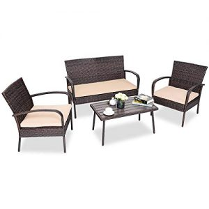 4 Pieces Outdoor Patio Sofa Set with Washable Sofa Cushions, Rattan Wicker Conversation Sofa Set with Unique Wood Table, Patio Sofa Furniture Set for Porch, Backyard, Garden, Poolside