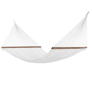 Project One Large 12FT Rope Hammock, Quick Dry Rope Hammock with Double Size Solid Wood Spreader Bar Outdoor Patio Yard Poolside Hammock, 2 Person 450 Pound Capacity (White)